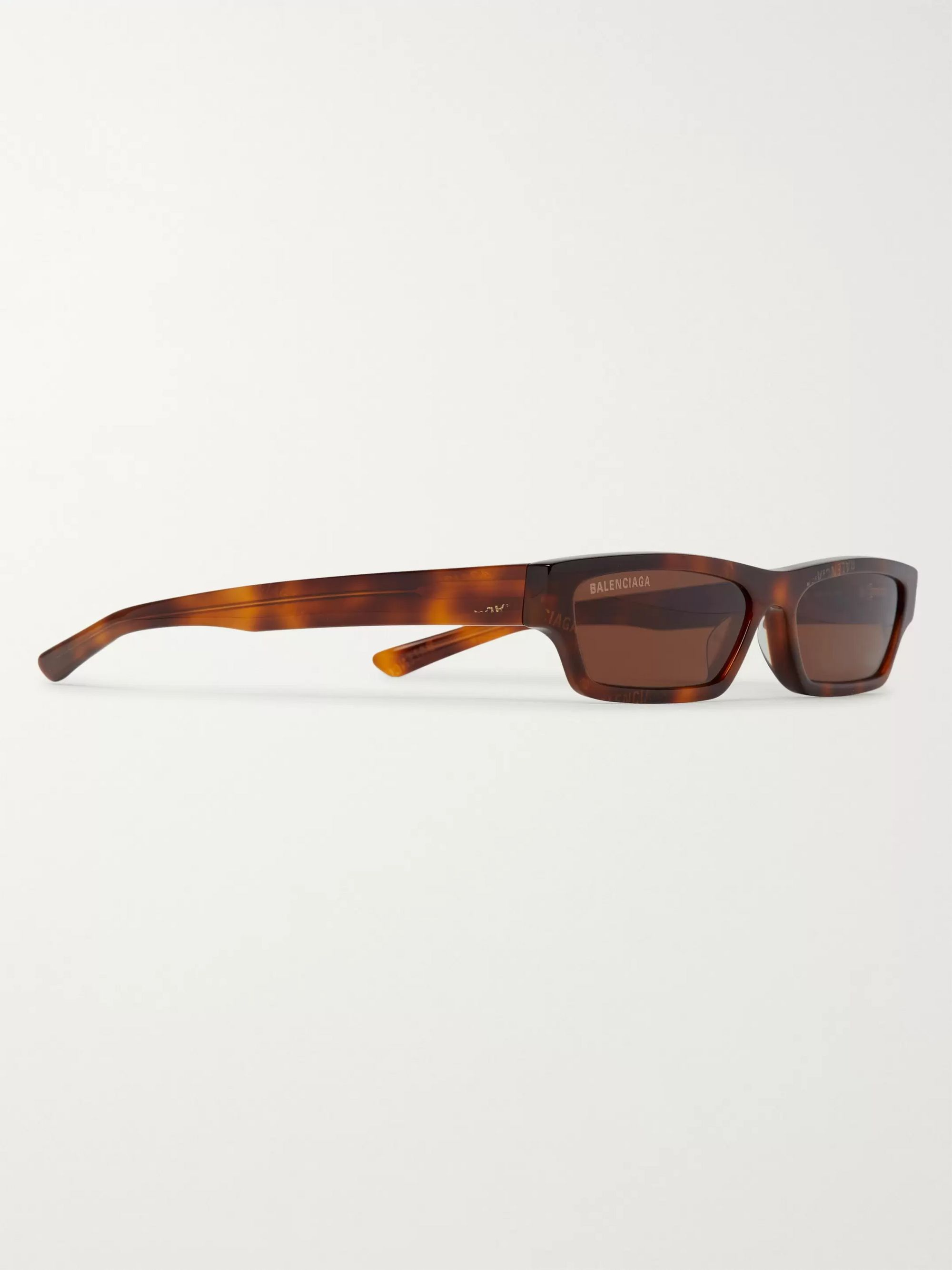 Brown Rectangle-frame Logo-print Tortoiseshell Acetate Sunglasses   Balenciaga