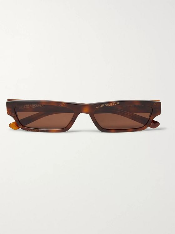 Balenciaga Rectangle-Frame Logo-Print Tortoiseshell Acetate Sunglasses