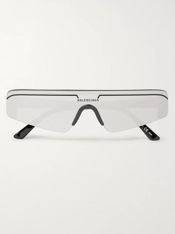 Balenciaga Ski Rectangle-Frame Acetate and Enamel Sunglasses