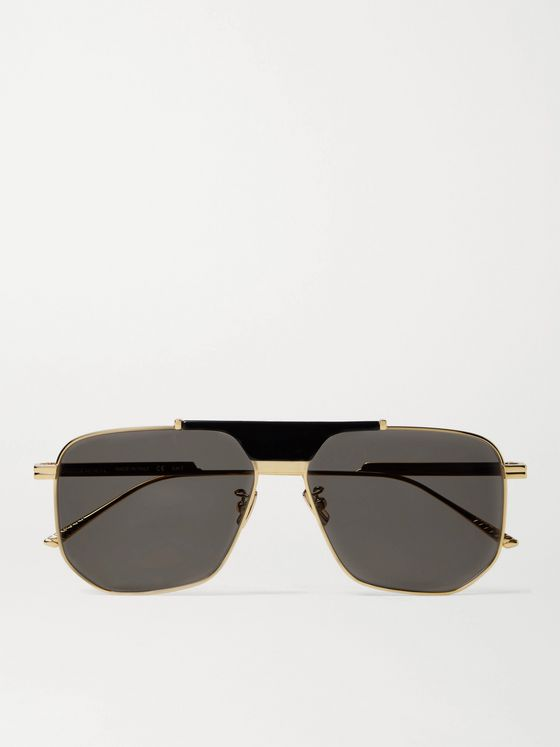 BOTTEGA VENETA Caravan Aviator-Style Gold-Tone Metal and Acetate Sunglasses