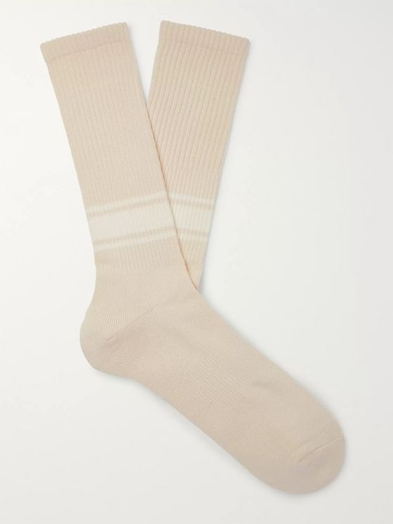 Mr P. Ribbed Striped Stretch Cotton-Blend Socks