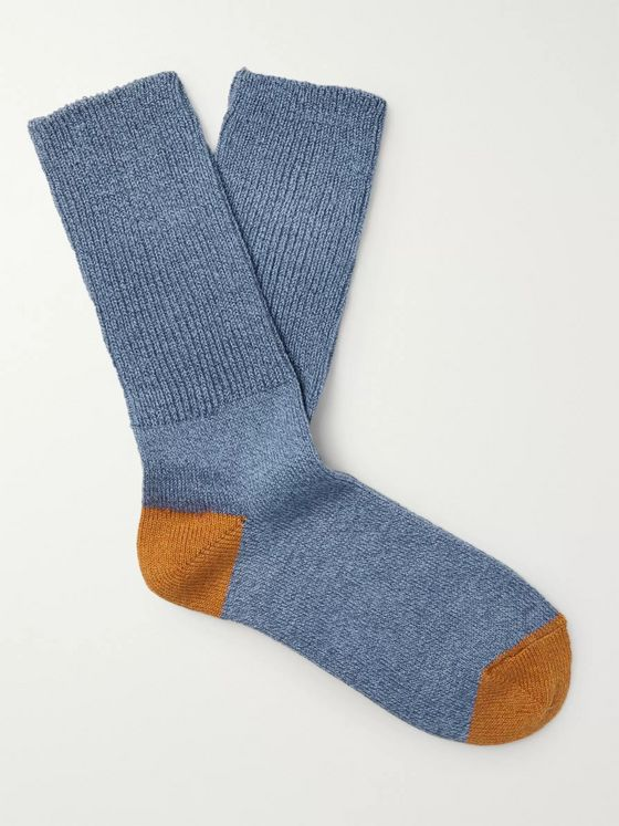 Mr P. Ribbed Mélange Stretch Cotton-Blend Socks