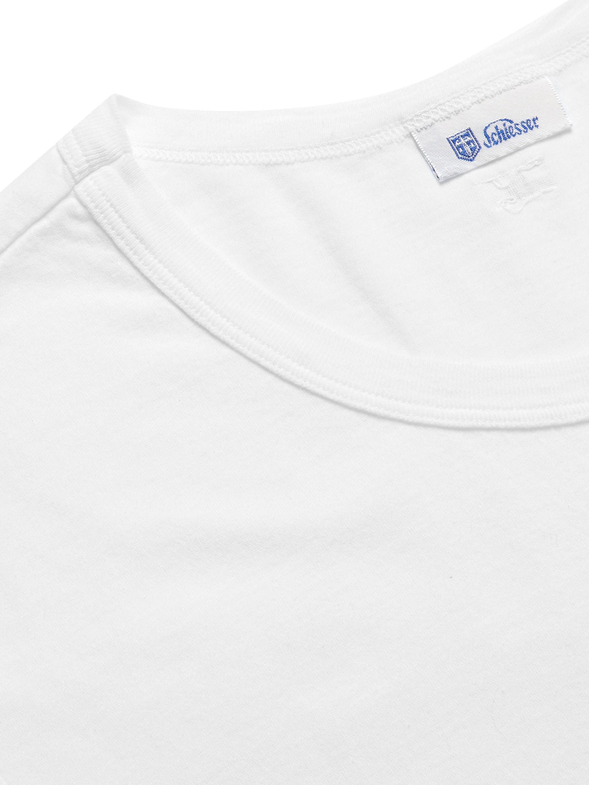 White Georg Slub Cotton-jersey Pyjama T-shirt | Schiesser