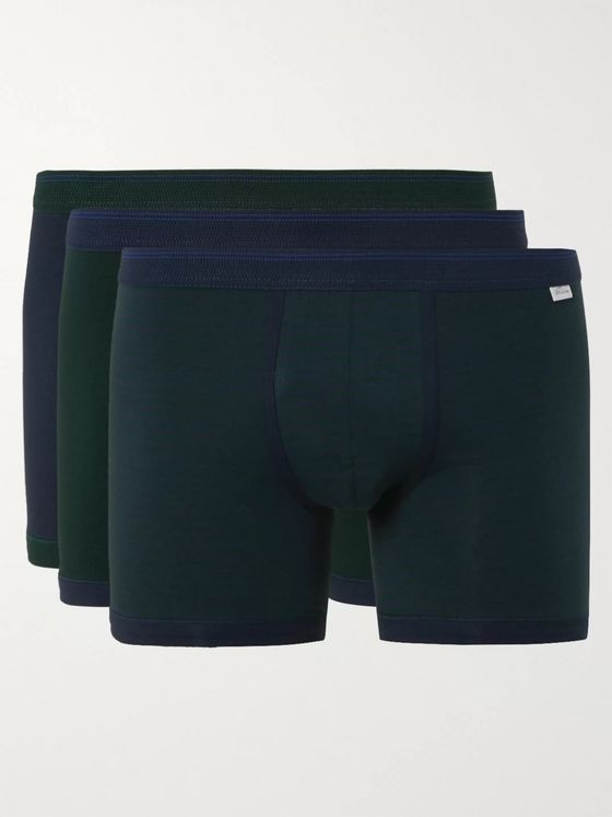 Schiesser Lorenz Three-Pack Stretch Cotton and Modal-Blend Boxer Briefs