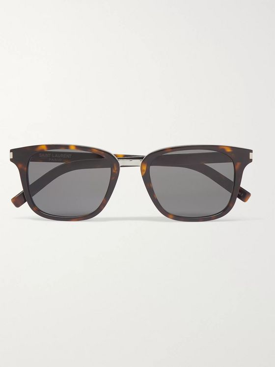 SAINT LAURENT Square-Frame Tortoiseshell Acetate and Silver-Tone Sunglasses