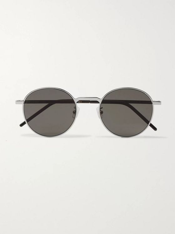 SAINT LAURENT Round-Frame Silver-Tone Metal Sunglasses