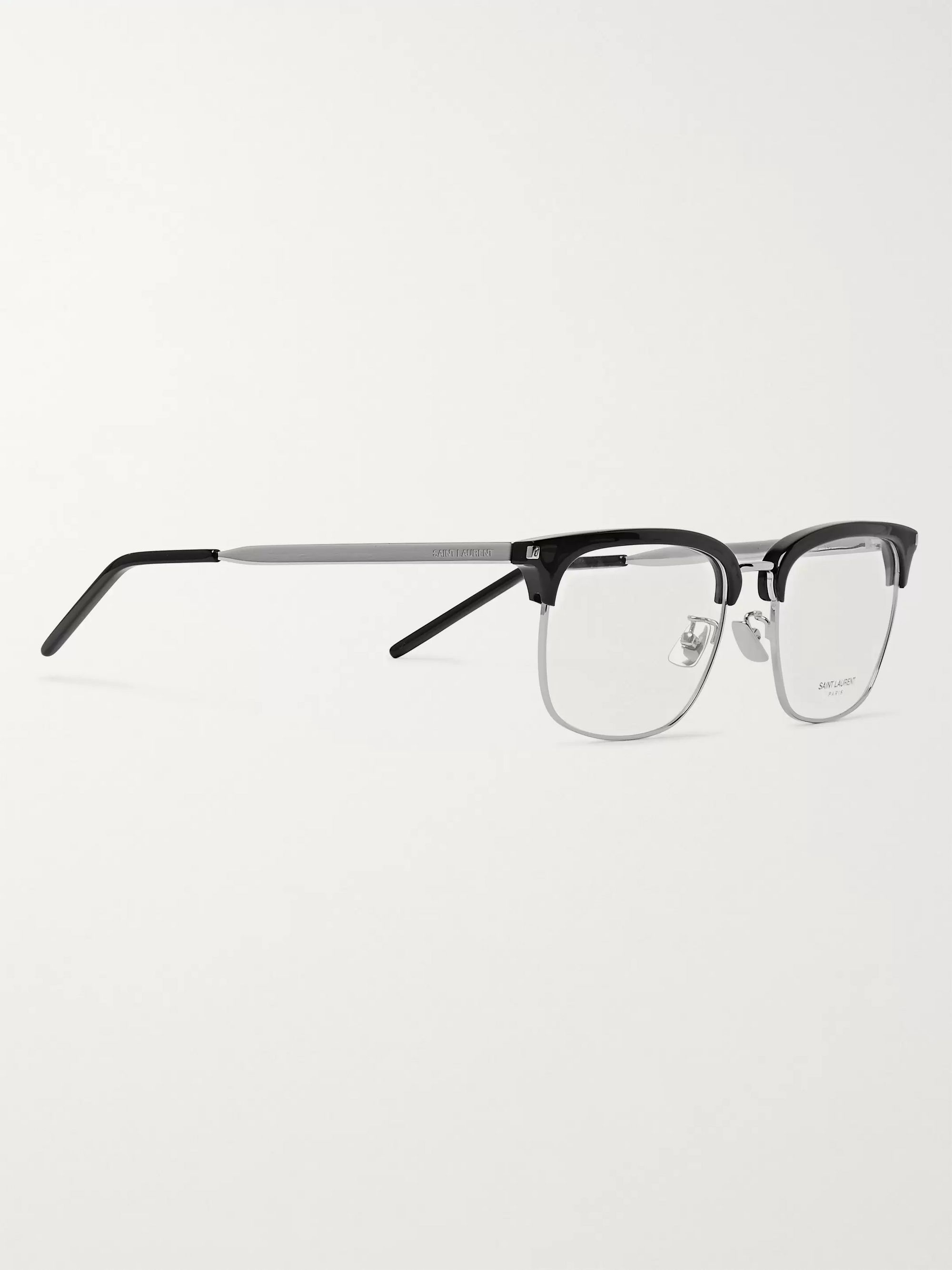 SAINT LAURENT Square-Frame Acetate and Silver-Tone Optical Glasses