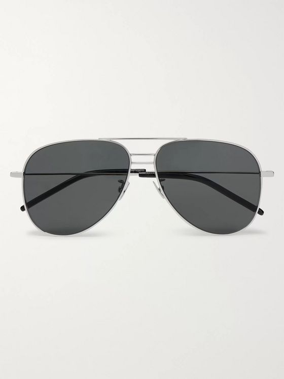 SAINT LAURENT Aviator-Style Silver-Tone and Acetate Sunglasses