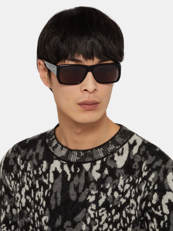 SAINT LAURENT Lenny Rectangle-Frame Acetate Sunglasses