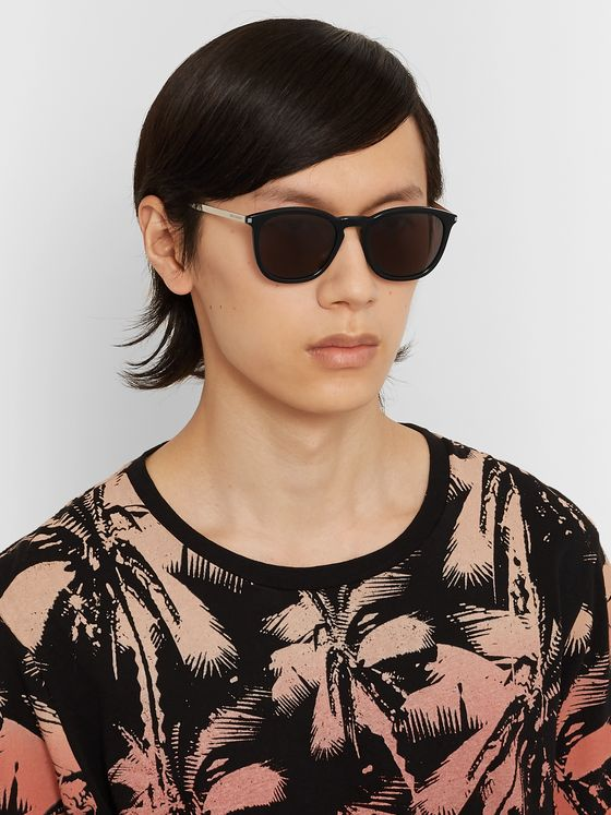 SAINT LAURENT Square-Frame Acetate and Silver-Tone Sunglasses