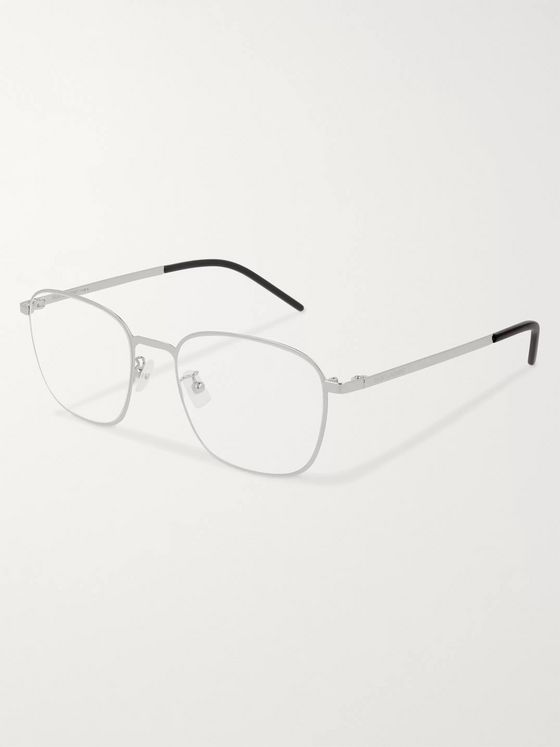 SAINT LAURENT Square-Frame Silver-Tone Optical Glasses