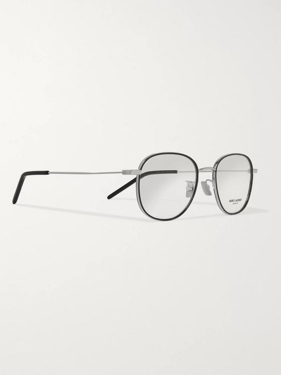 SAINT LAURENT Round-Frame Tortoiseshell Acetate and Silver-Tone Optical Glasses