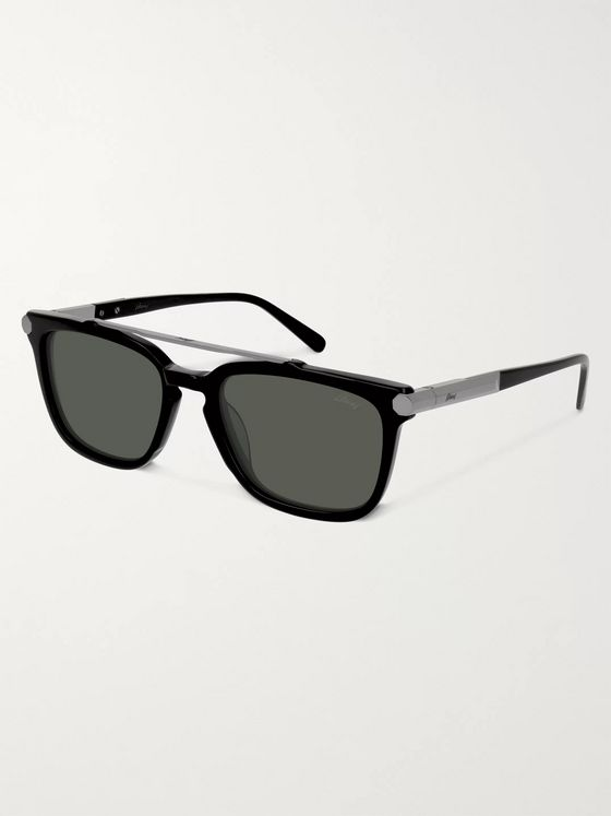 Brioni Square-Frame Acetate and Gunmetal-Tone Sunglasses