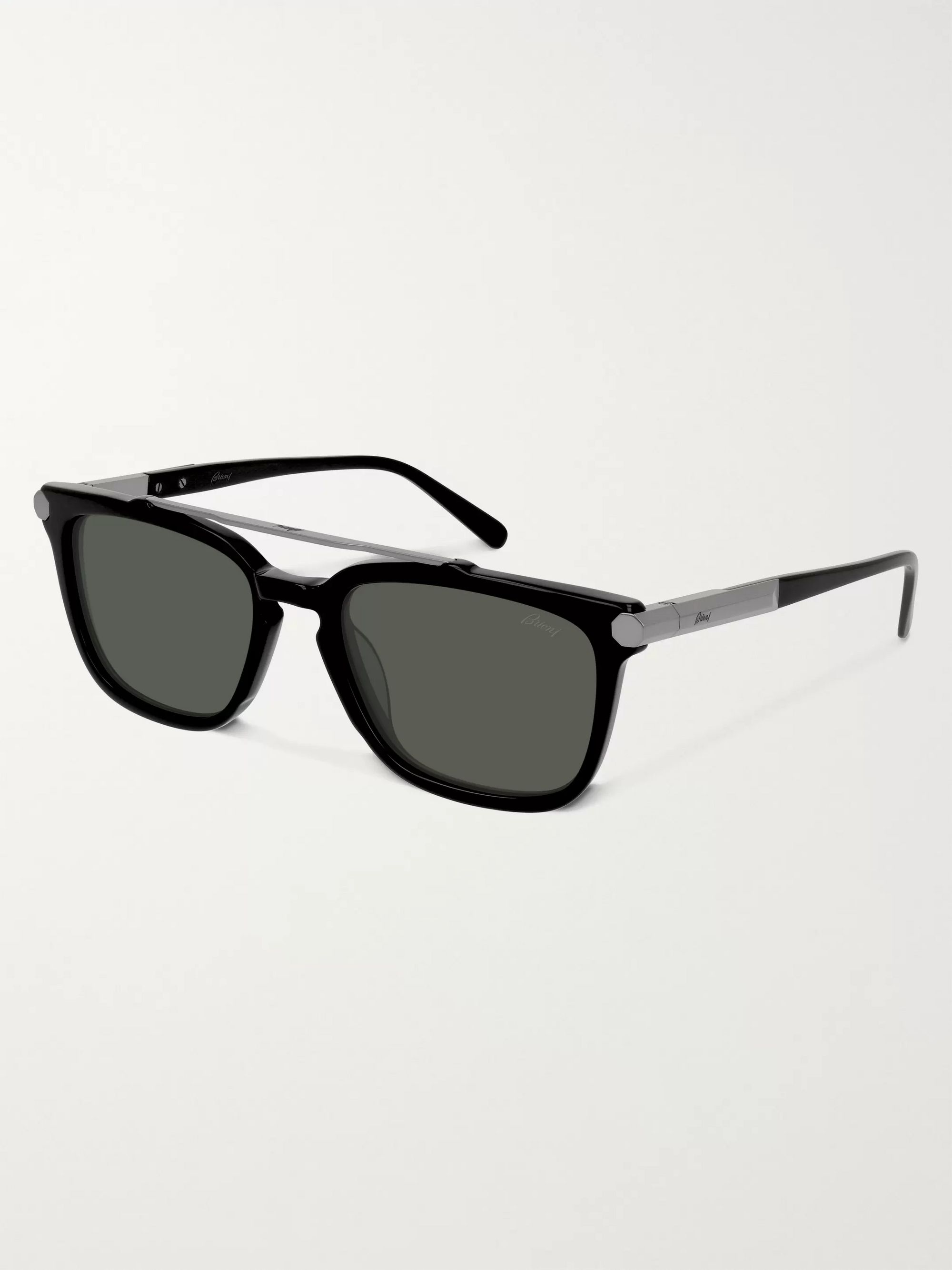 Black Square-frame Acetate And Gunmetal-tone Sunglasses | Brioni