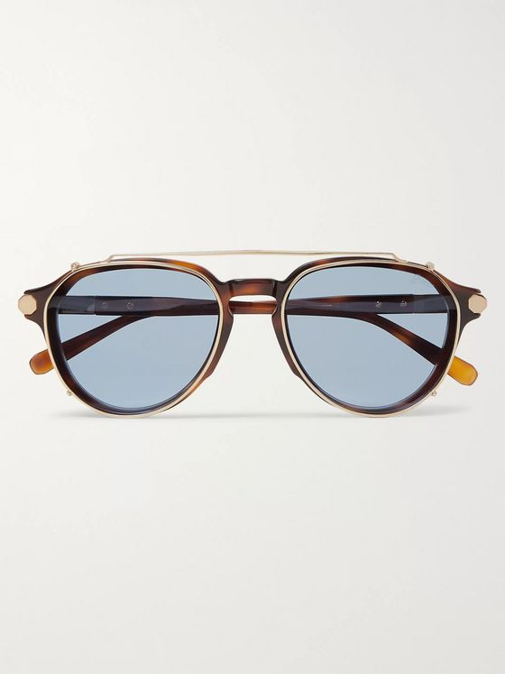 Brioni Aviator-Style Tortoiseshell Acetate and Gunmetal-Tone Sunglasses