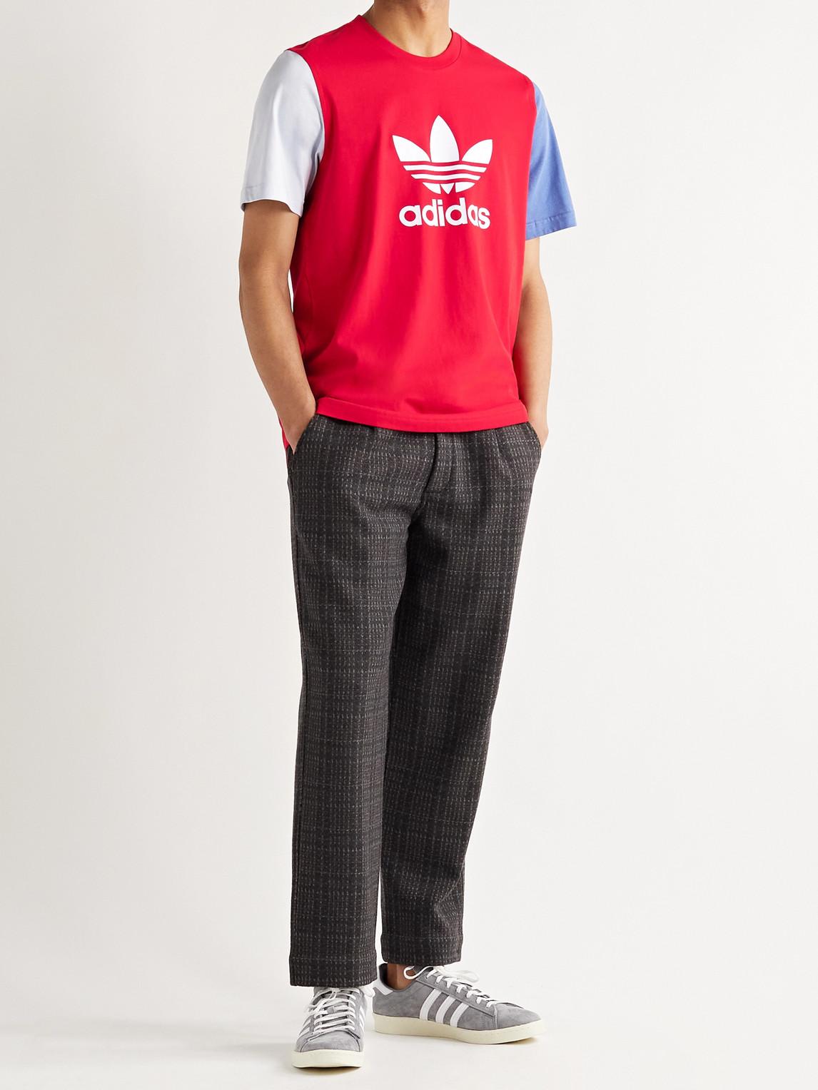ADIDAS ORIGINALS T-shirts COLOR-BLOCK LOGO-PRINT COTTON-JERSEY T-SHIRT
