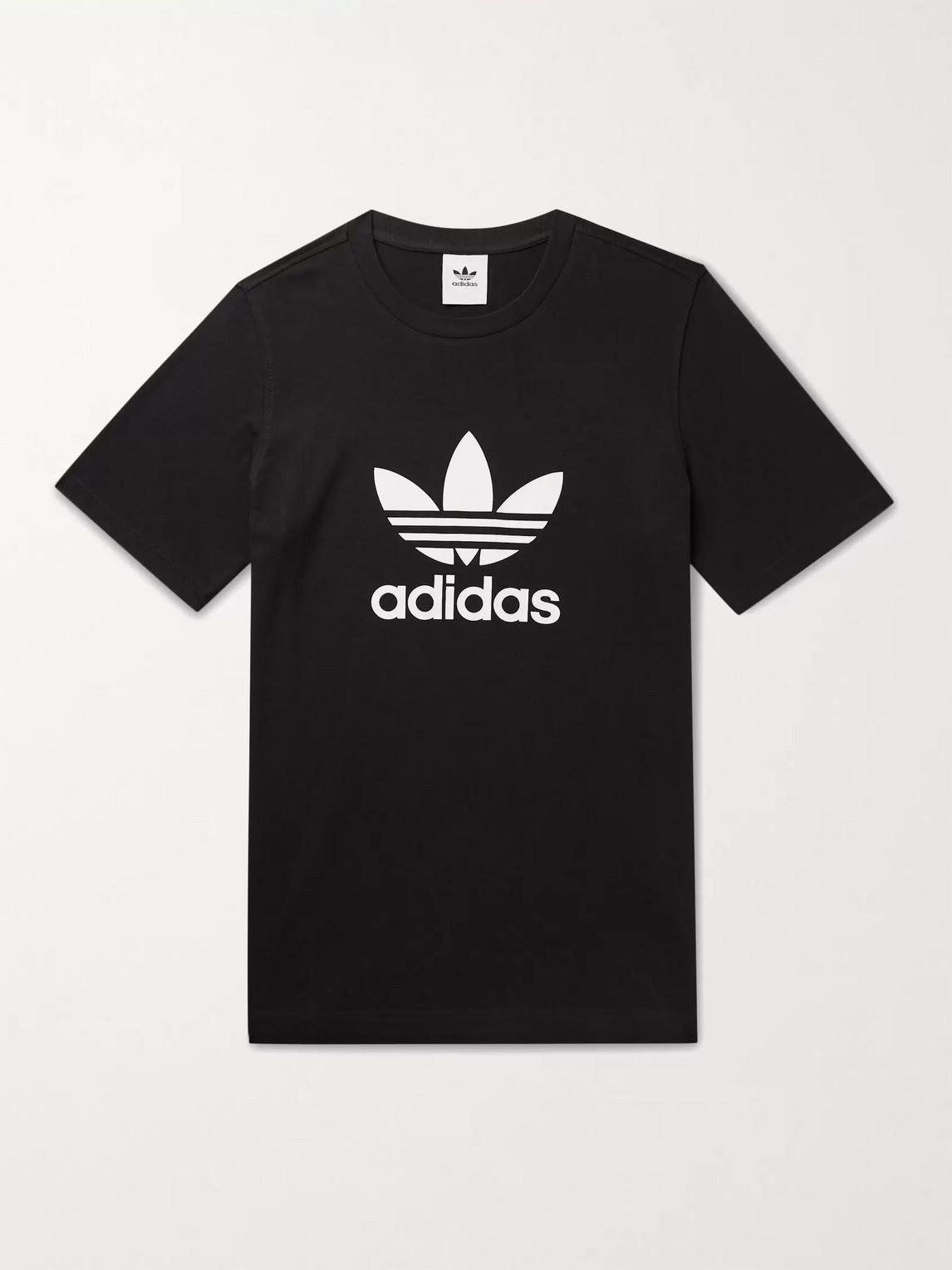 Adidas Originals Logo-print Cotton-jersey T-shirt In Black/white