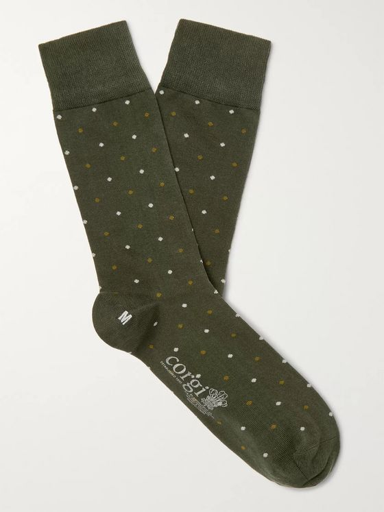 Kingsman + Corgi Polka-Dot Cotton-Blend Socks