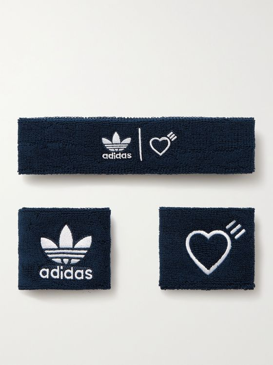 ADIDAS CONSORTIUM + Human Made Logo-Embroidered Terry Headband and Wristbands Set