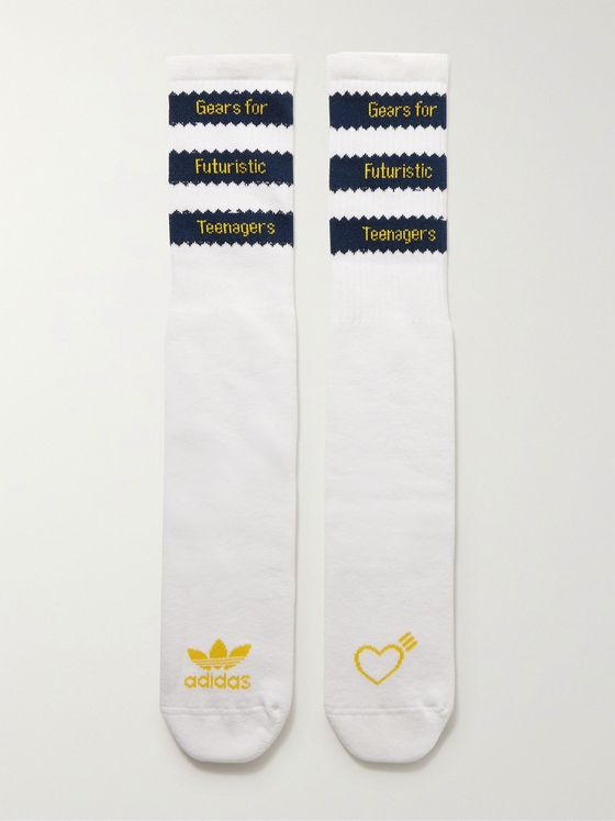 ADIDAS CONSORTIUM + Human Made Striped Logo-Intarsia Ribbed Cotton-Blend Socks