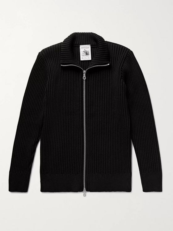 S.N.S. Herning Fang III Ribbed Virgin Wool Zip-Up Cardigan