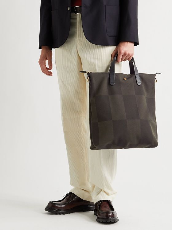 Mismo Leather-Trimmed Checked Canvas-Jacquard Tote Bag