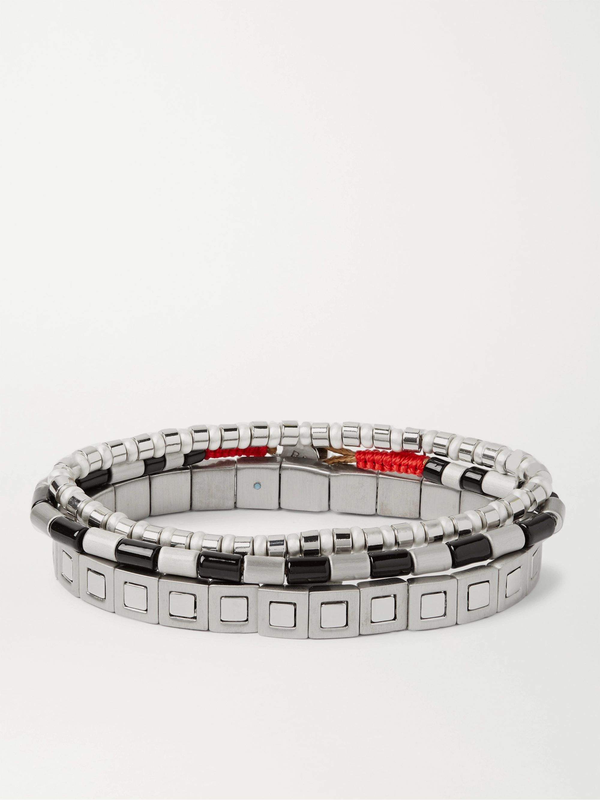 록산느 애슐린 Roxanne Assoulin Set of Three Enamel and Silver-Tone Bracelets