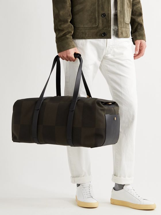 MISMO Leather-Trimmed Checked Canvas-Jacquard Holdall