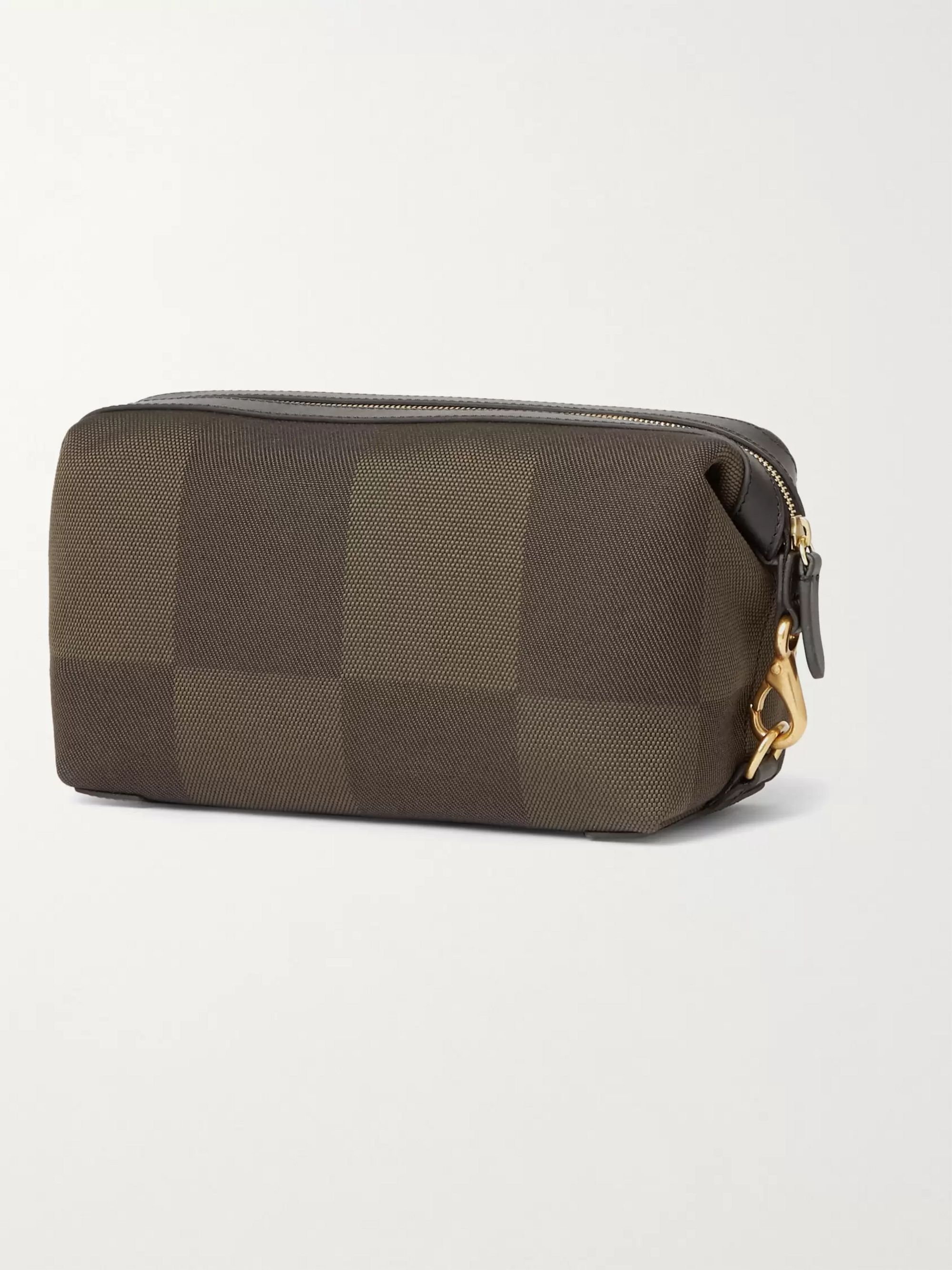 MISMO Leather-Trimmed Canvas Wash Bag