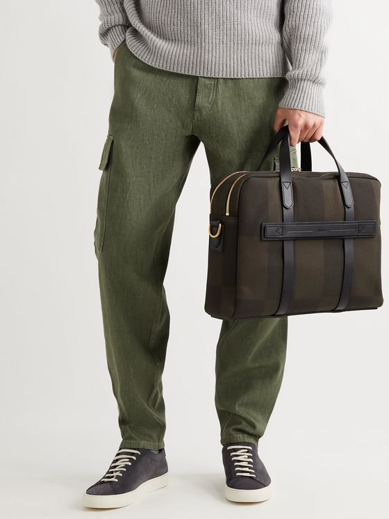 MISMO Endeavour Leather-Trimmed Checked Canvas-Jacquard Briefcase