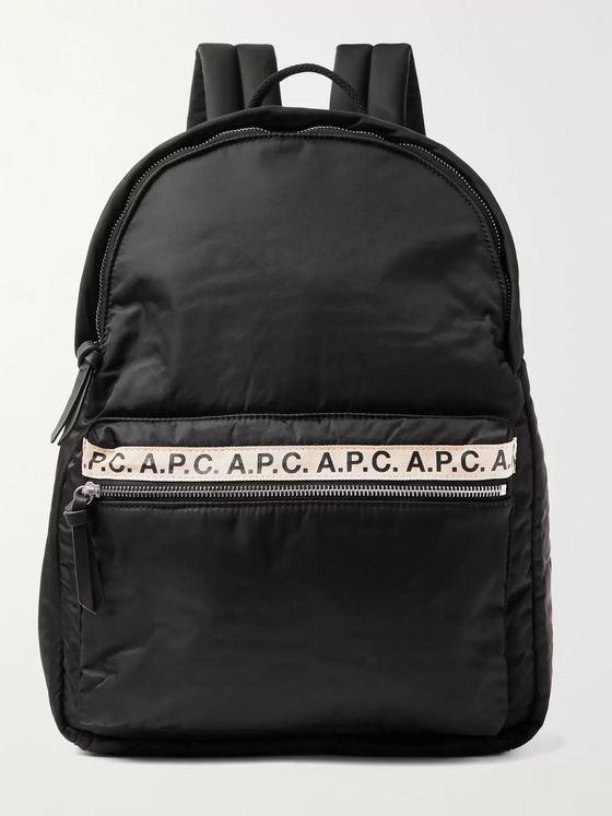 A.P.C. Logo-Print Tape-Trimmed Nylon Backpack