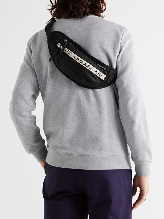 A.P.C. Logo-Print Tape-Trimmed Tech-Canvas Belt Bag
