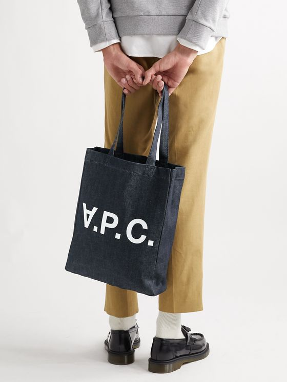 A.P.C. Laure Logo-Print Denim Tote Bag