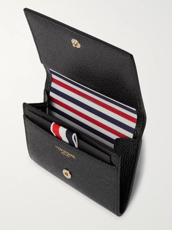 Thom Browne Striped Pebble-Grain Leather Wallet