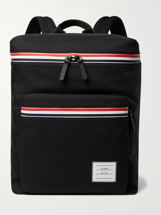 Thom Browne Appliquéd Pebble-Grain Leather-Trimmed Canvas Backpack