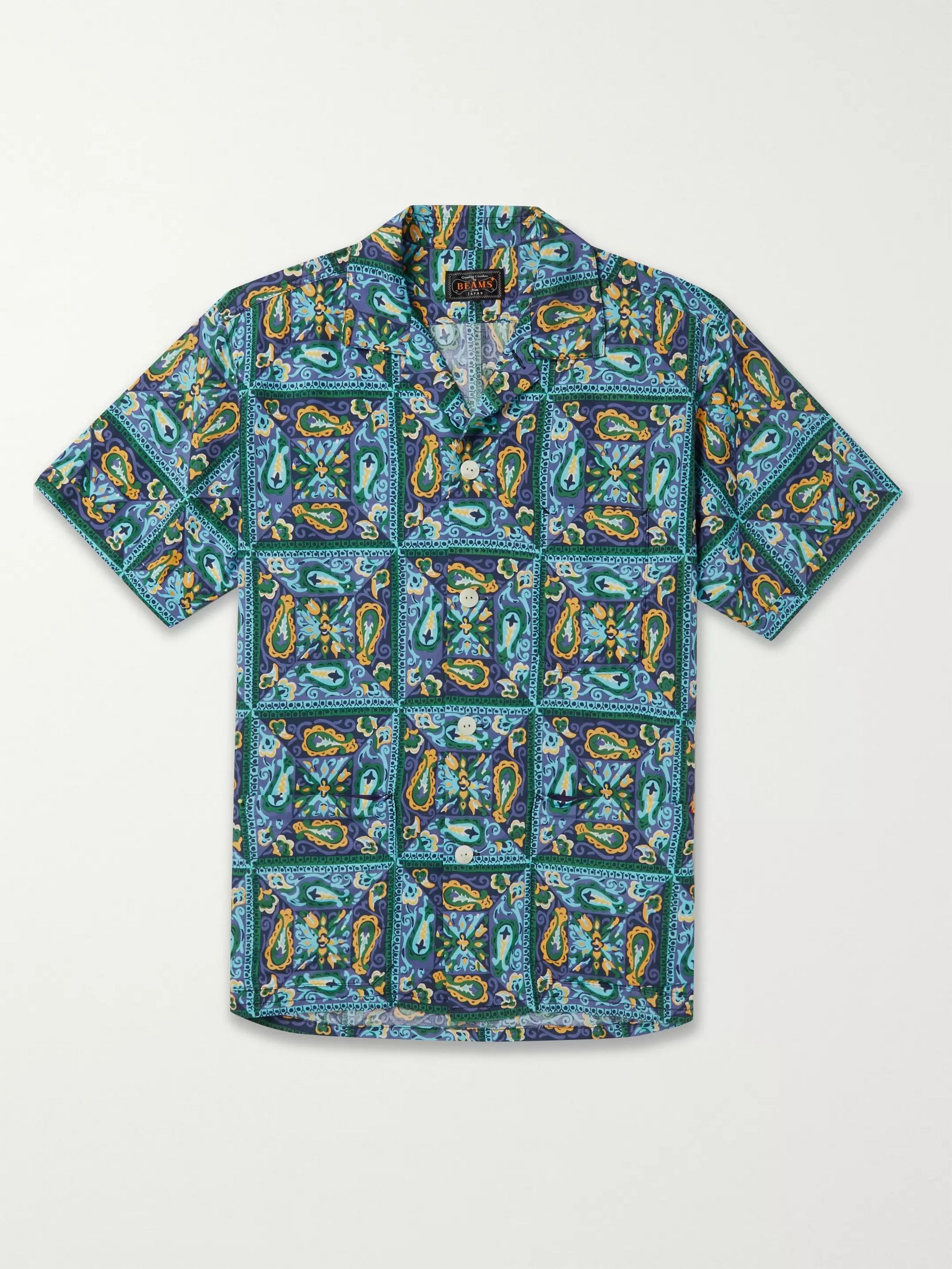 Beams Plus Camp-Collar Printed Woven Shirt