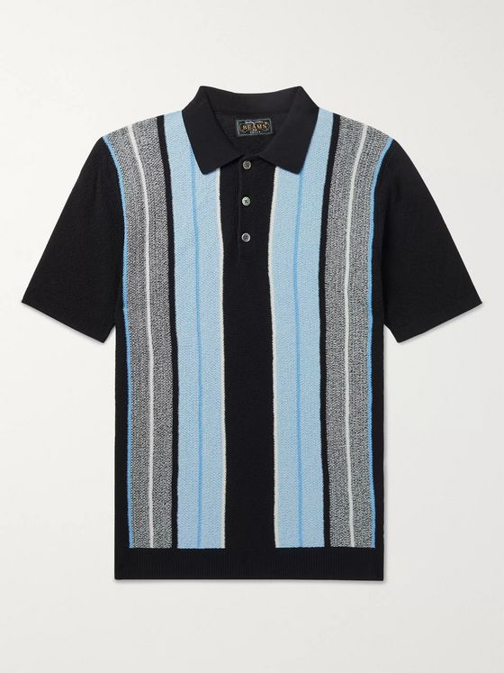 Beams Plus Slim-Fit Striped Knitted Cotton Polo Shirt
