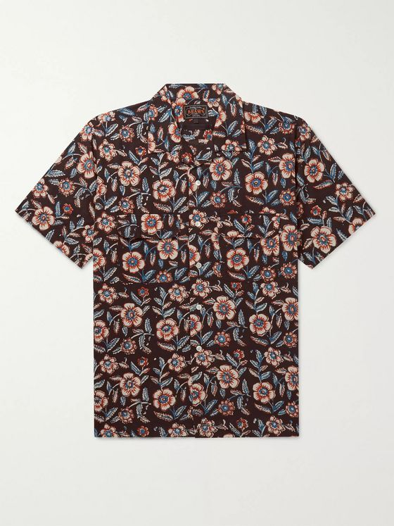 Beams Plus Camp-Collar Printed Cotton-Poplin Shirt