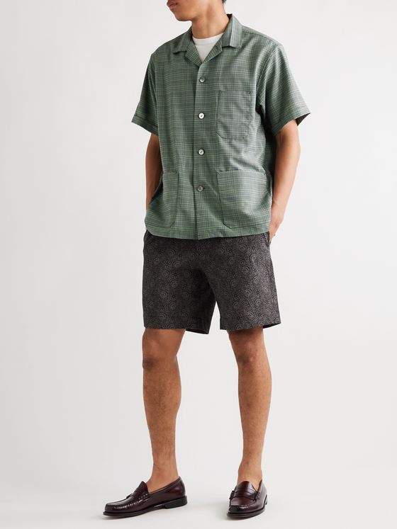 Beams Plus Camp-Collar Checked Woven Shirt