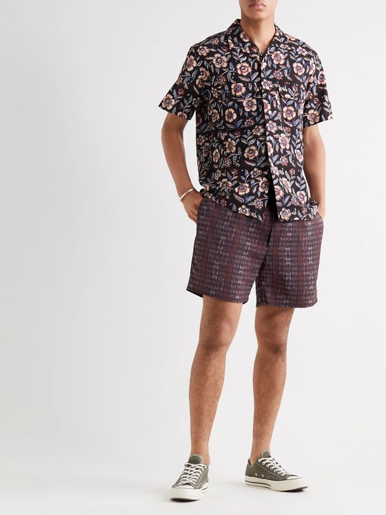 BEAMS PLUS Printed Checked Woven Shorts