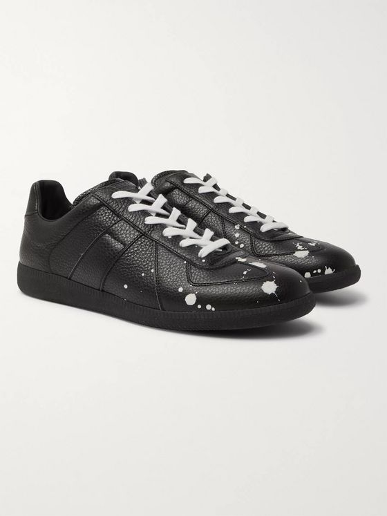Maison Margiela Replica Paint-Splattered Full-Grain Leather Sneakers