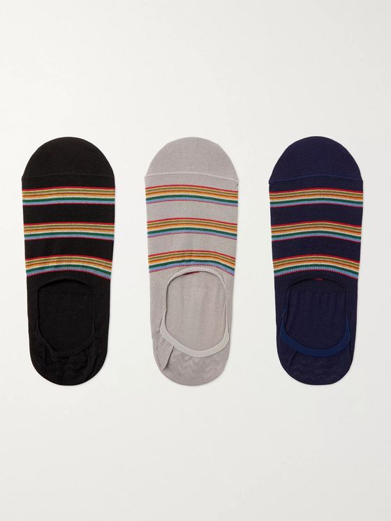 PAUL SMITH Three-Pack Striped Cotton-Blend No-Show Socks