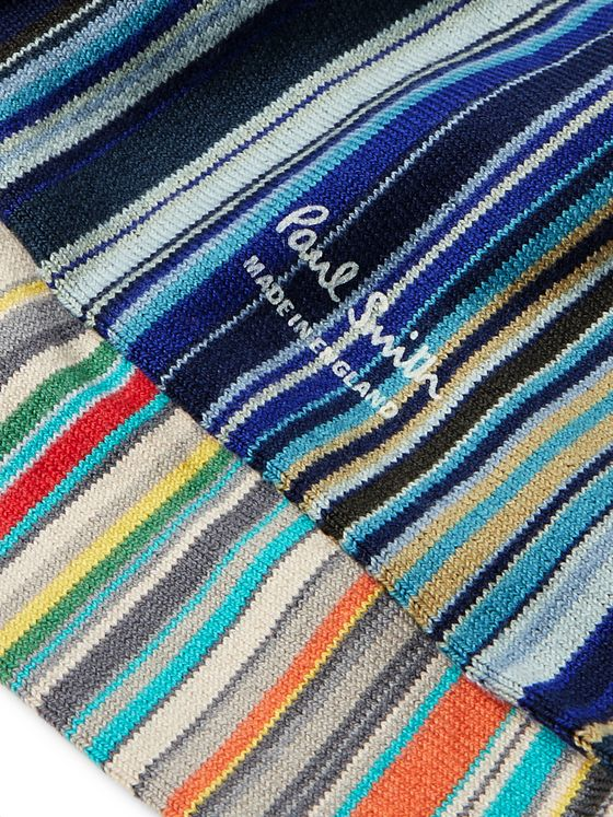 Paul Smith Two-Pack Striped Stretch Cotton-Blend Socks