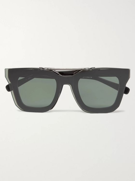 Native Sons + Sacai Cornell Square-Frame Acetate Glasses With Clip-On UV Lenses