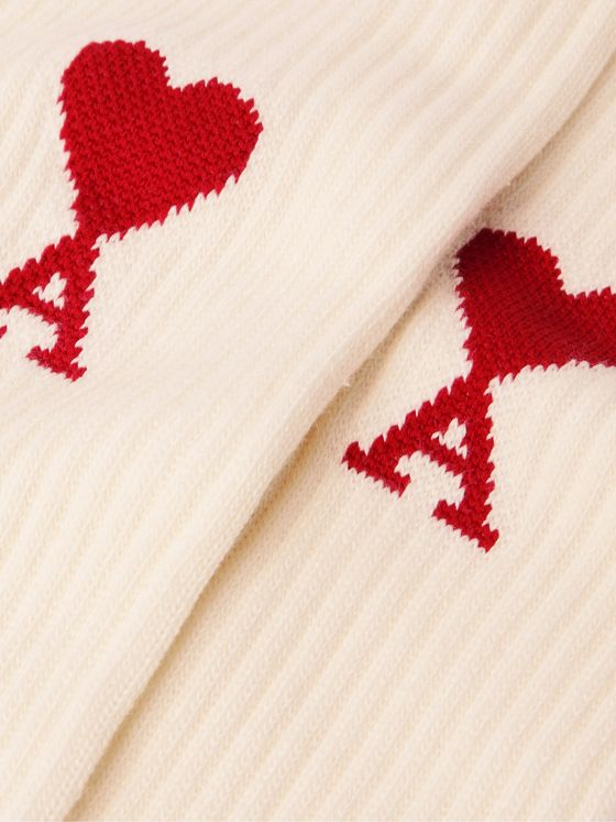 AMI PARIS Three-Pack Logo-Intarsia Cotton-Blend Socks