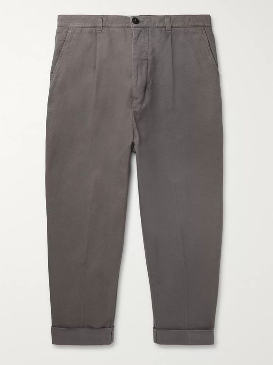 AMI Tapered Cropped Pleated Cotton-Twill Trousers