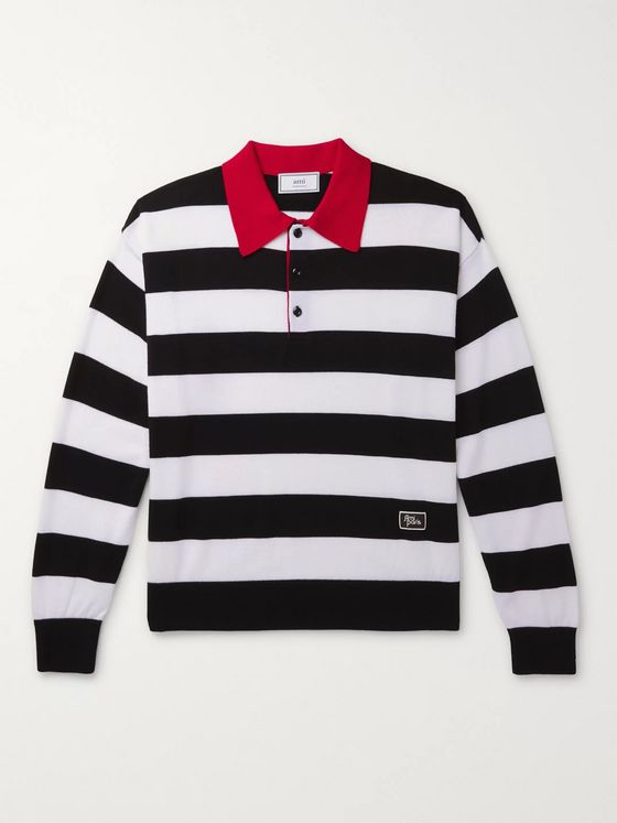 AMI PARIS Striped Merino Wool Polo Shirt