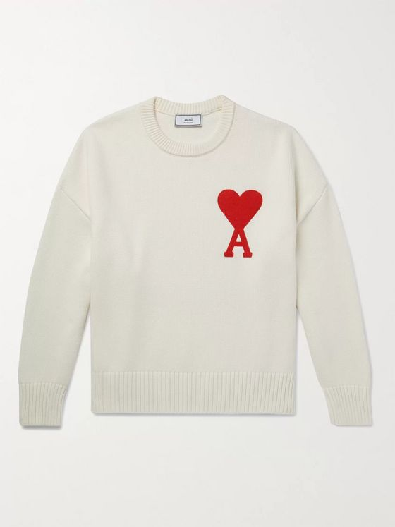 AMI PARIS Oversized Logo-Appliquéd Cotton-Blend Sweater