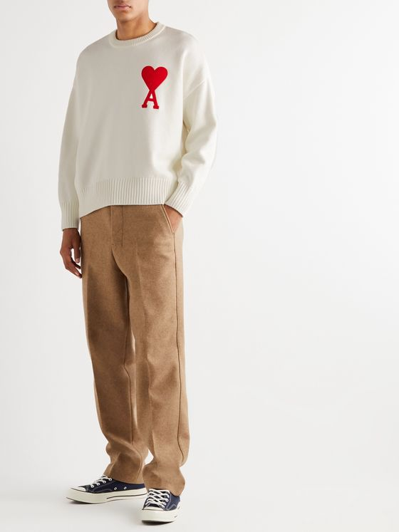 AMI Oversized Logo-Appliquéd Cotton-Blend Sweater