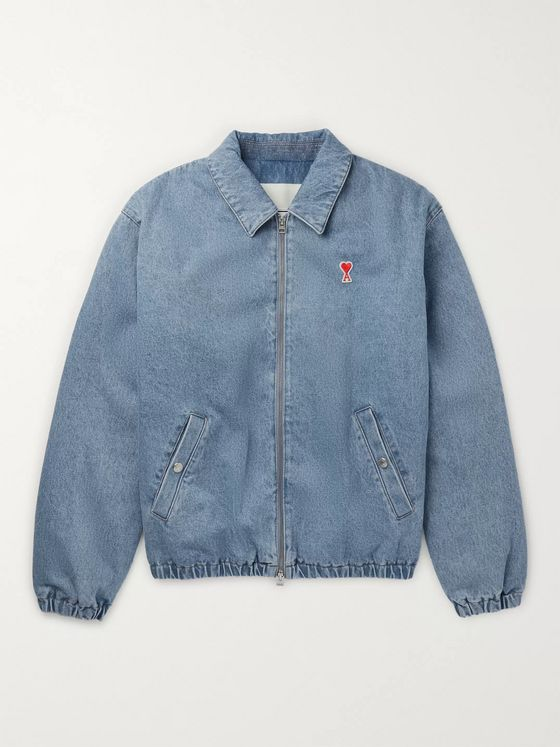 AMI PARIS Logo-Appliquéd Denim Bomber Jacket